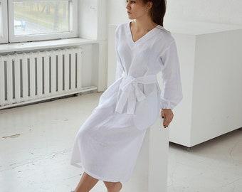 d640c04d24d READY TO SHIP - S size - White linen midi linen dress - Long sleeved dress  - V-neck dress with pockets