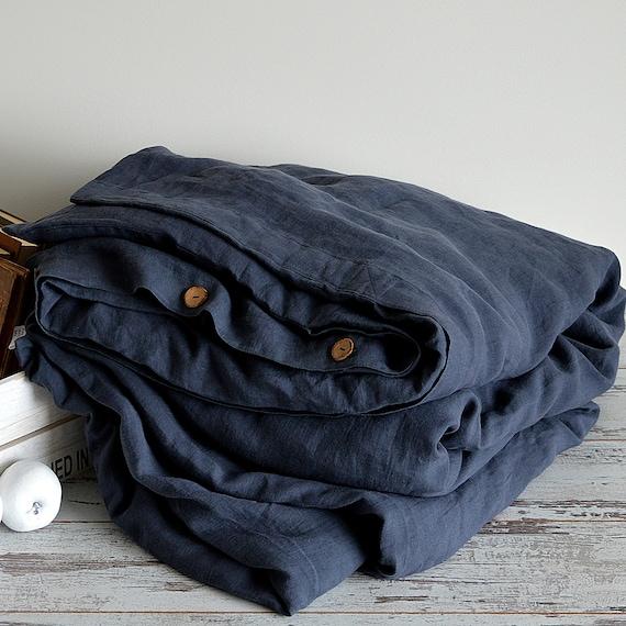 Linen duvet cover / Midnight blue duvet cover / 100% linen bedding / Softened linen duvet cover / European linen / Child's linen bedding