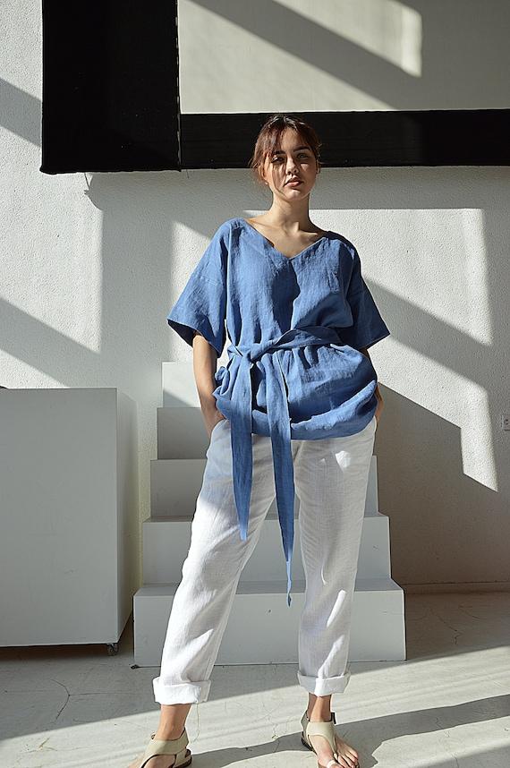 Woman's linen top / French blue / V-neck top /  Woman's linen kimono / Comfortable casual tunic / Loose blouse