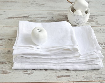 Linen Bath towel set - White thick linen towels - Linen bath and hand/face towels - Rustic linen towels - Washed bath linen towels