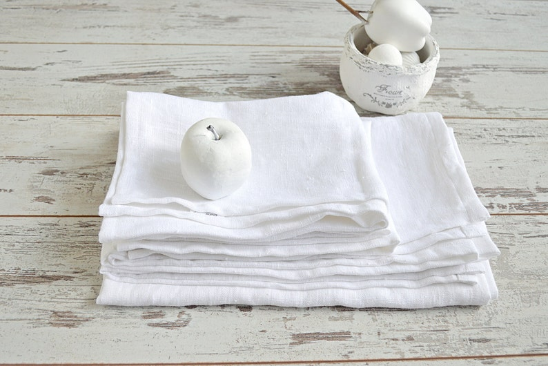 Linen Bath Towel Set White Thick Linen Towels Linen Bath Etsy