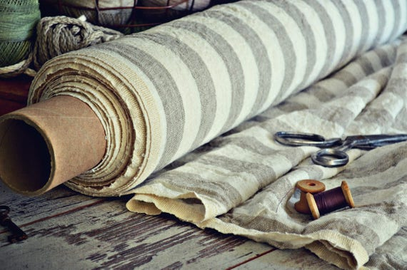 Linen fabric / Thick fabric / By the half meter / Striped thick linen fabric / A-015 natural / Stonewashed linen fabric