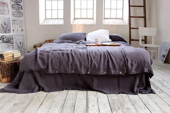 Linen duvet cover / Linen bedding / 100% linen bedding /  Softened linen duvet cover / Grayish eggplant duvet cover / Child's bedding