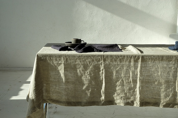 Linen tablecloth / Undyed linen tablecloth / Softened tablecloth / Tablecloth with mitered corners / Simple rustic linen tablecloth