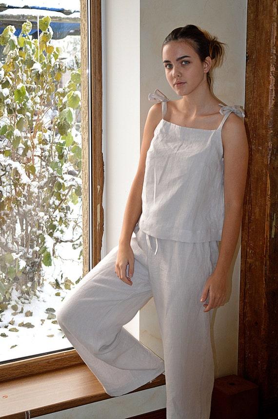 Linen loungewear - Women's soft linen pajama - linen sleepwear - Soft linen pyjama set - Linen Pajama Top and Pants