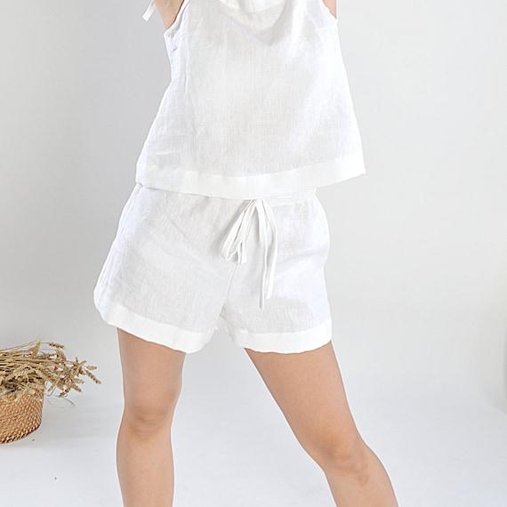 Soft linen shorts - Sizes XS-2XL - Linen loungewear - White linen pajama shorts - Soft linen loungewear - Handmade linen shorts