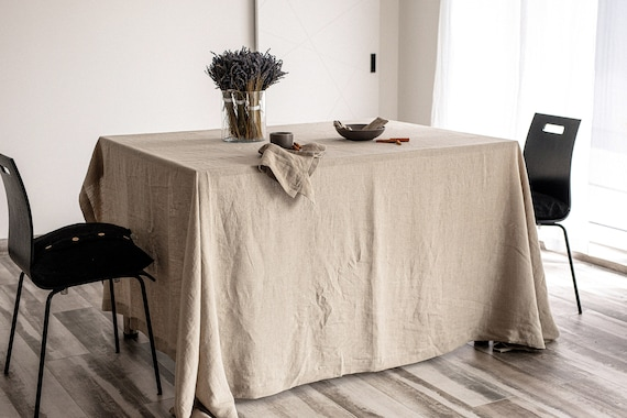 Large linen tablecloth / wide tablecloth / Tablecloth with mitered corners / Soft linen tablecloth / Stonewashed linen tablecloth