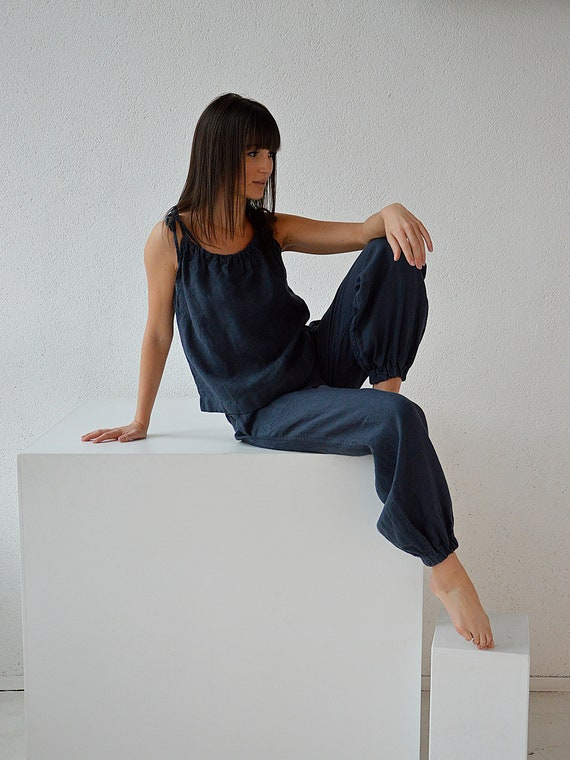 Linen trousers / Woman's pants /  Midnight blue linen trousers / Soft linen casual pants /  Loose women linen trousers / Blue pants