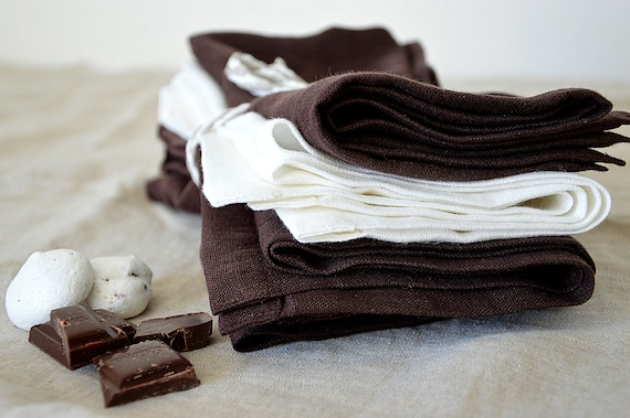 Linen napkin set  / Chocolate linen napkin set / Table decor / Linen napkins / Softened handmade napkins / Table linen