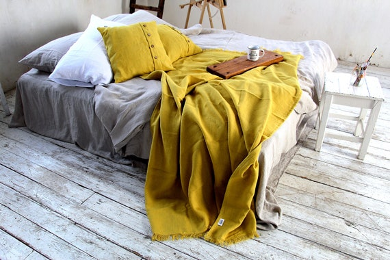 Mustard linen throw set - Softened thick linen throw and pillowcases - Throw blanket with fringe / without fringe - Heavy weight  linen