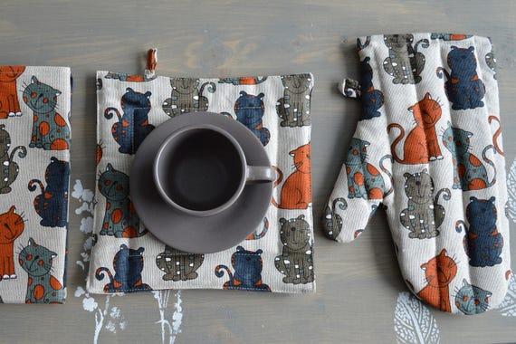 100% linen kitchen set - linen towel, mitten, potholder