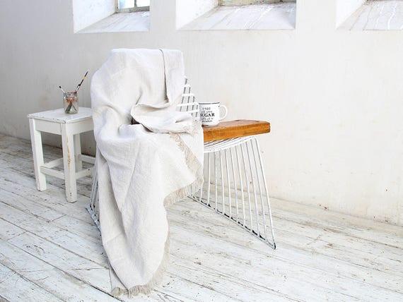 Thick linen throw / Linen throw blanket / Heavy weight linen blanket / Oatmeal melange throw / Softened thick linen coverlet