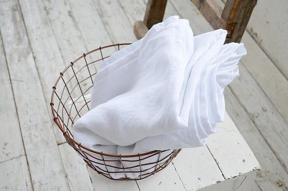 Linen flat sheet / Linen top sheet / Queen / King sizes sheet / Softened linen bedding / White linen bedding / Child's flat sheet
