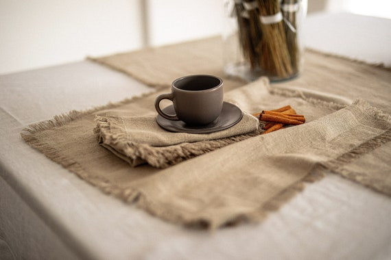 Thick Linen napkins / Natural linen napkin set / Size 20'' x 20'' / Natural undyed napkins with FRINGED edges / Rustic table linen