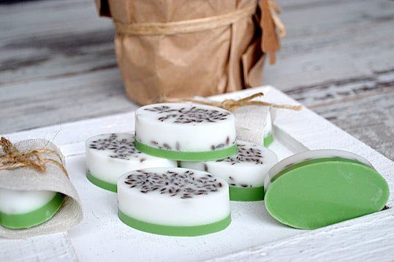 Gift soap set - Guest small soap - Small soap bar with Wheatgerm oil - Natural goat milk soap - Fresh soap with linen seeds