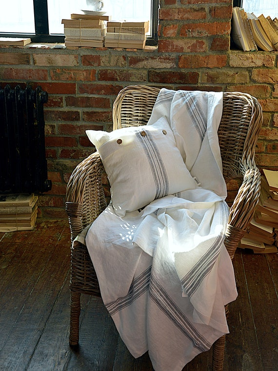 Linen throw 320 GSM - Heavy weight linen blanket - with fringe / without fringe - Softened thick linen coverlet - Summer blanket