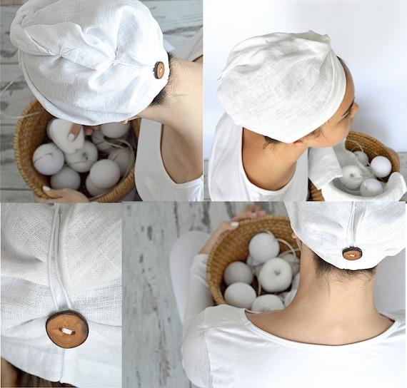 Linen hair towel - Pure linen hair turban - White woman bath turban - Natural linen sauna / spa / shower / bath turban - Treat yourself !
