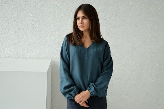 Linen blouse / Linen V-neck top / Loose long sleeve blouse / Casual linen blouse / Soft linen casual top / Ocean wave linen blouse
