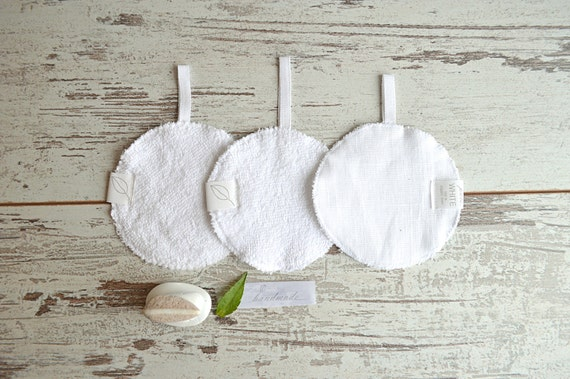 FREE SHIPPING - Cleaning sponge Set of 3 - Face massage /peeling sponges -  Linen face pads - Home Spa accessories - Face skin care
