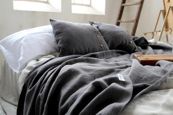 Linen throw set / Throw blanket / linen pillowcases / Heavy weight  linen / Thick linen coverlet / Bed cover