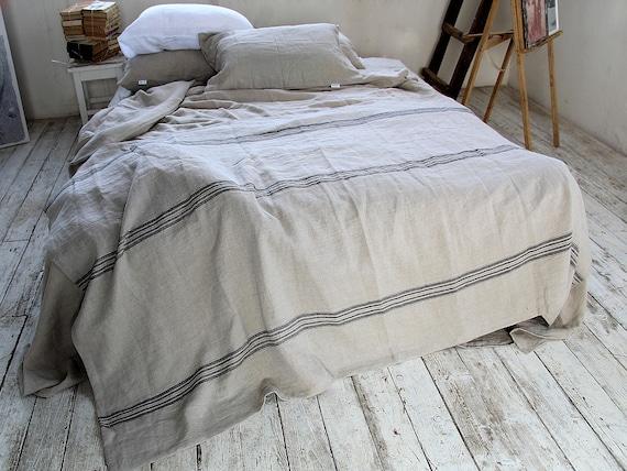 Linen throw 320 GSM / Rustic linen throw / Striped throw / Heavy weight  linen blanket /  Softened thick linen coverlet / Summer blanket