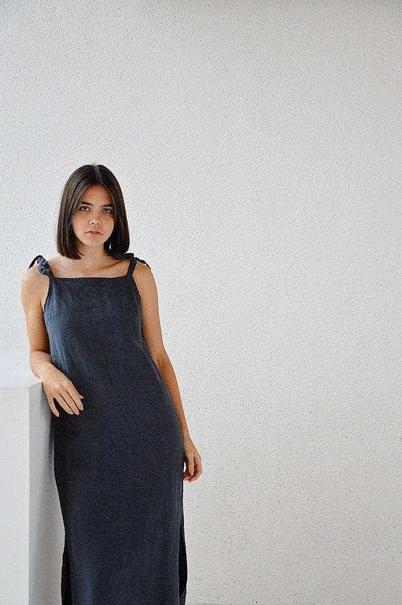 Charcoal blue long linen night dress - Charcoal blue handmade sleepwear - Soft linen sleep dress - Dress with regulating straps