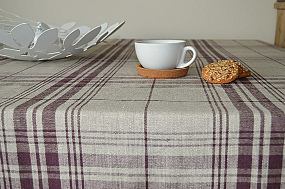 Linen checkered tablecloth  -  Thick tablecloth with mitered corners - Simple linen tablecloth - Rough softened linen tablecloth
