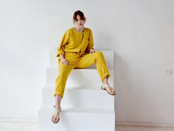 READY to ship / S size / Tuscan sun linen pants / Linen pants with pockets / Long linen pants / Washed women linen pants