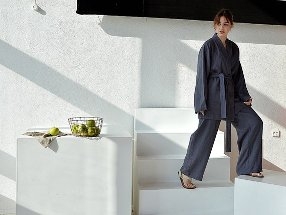 Linen kimono and pants set / Dovetail linen suit / Kimono jacket / Loose kimono and pants / Loungewear linen suit
