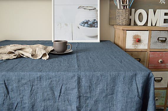 Linen tablecloth / Denim blue melange / Table linen / Softened Tablecloth / Tablecloth with mitered corners / Simple rustic linen tablecloth