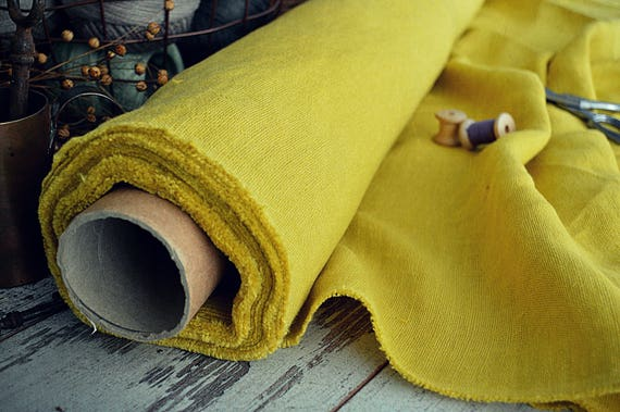 Heavy weight 100% linen fabric by the half meter - 280 gsm linen - A-018 Mustard color linen - Softened thick linen fabric