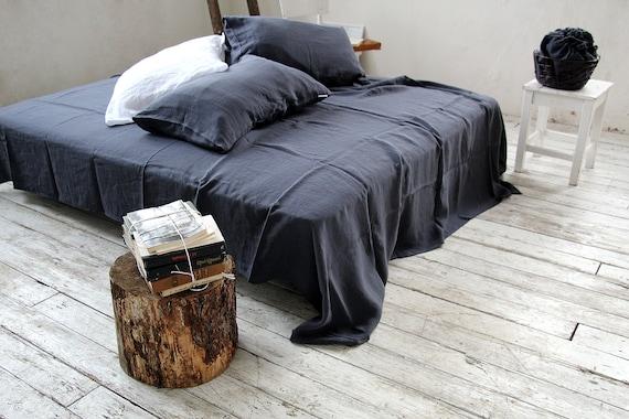 Linen flat sheet / Midnight blue sheet / Soft linen bedding / Linen top flat sheet / Queen / King size sheet / 100% linen bed sheet