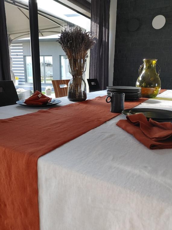 Linen table runner, Washed linen table runner Terracotta, custom size wedding table runner