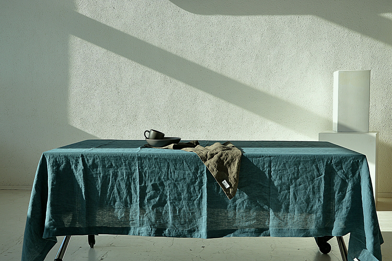 READY TO SHIP / Large Linen Tablecloth / Ocean Wave Linen Table Cloth /  Tablecloth With Mitered Corners / Large Linen Tablecloth