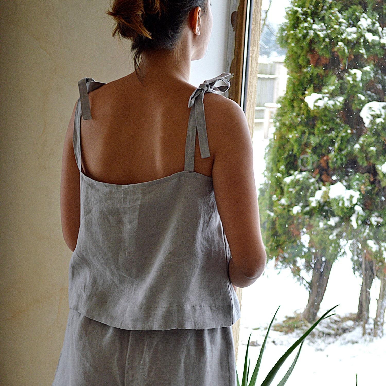 Light grey Linen pajama - Women s linen sleepwear - Soft linen loungewear -  Handmade linen pyjama set - Pajama top and shorts 9137afa81c