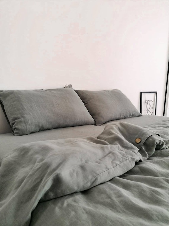 Olive linen duvet cover / Linen bedding / 100% linen bedding /  Softened linen duvet cover /  duvet cover / Child's bedding