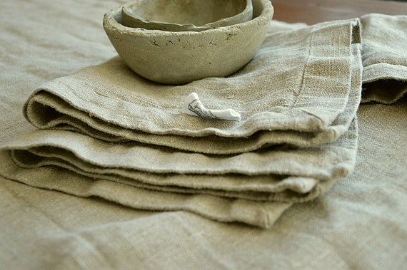 Thick linen napkins / Natural linen napkin set / Linen / Natural unpainted napkins / Napkins with mitered corners / Rustic table linen