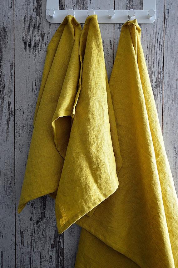 Bath thick Linen towel / Softened linen towel / Mustard bath towel / Guest bath linen towel / Heavy weight linen