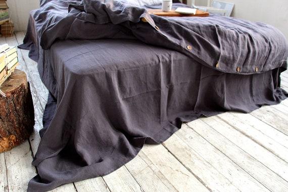 Linen flat sheet / Linen bedding /  Upper grayish eggplant linen sheet / Queen, king sizes sheets / 100% linen bed sheet / Child's sheet