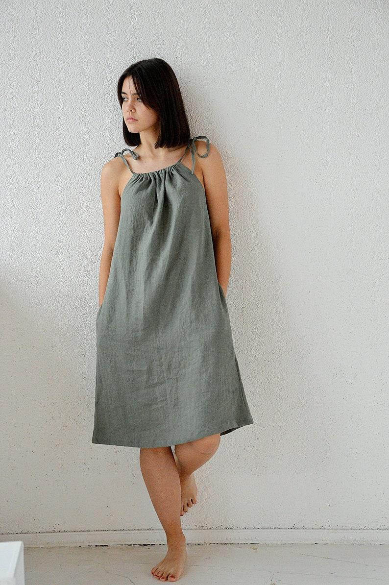 6e37fdc7f1 READY TO SHIP S size Moss green linen dress Handmade