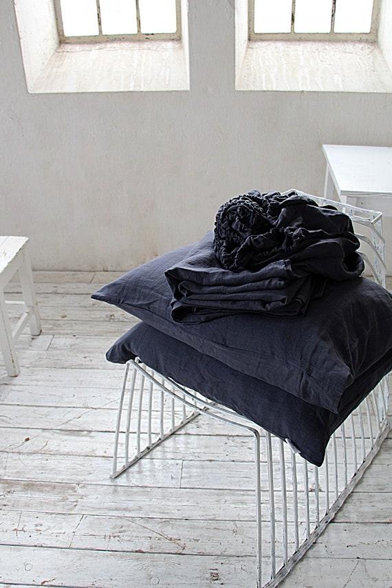 Linen sheet set / Linen bedding / Midnight blue set / Fitted sheet / 2 pillow cases / Flat sheet / King size / Queen size / Soft bedding