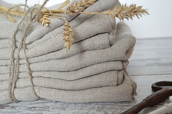 Thick Linen towels / Set of 3 / Natural undyed linen towels / Simple rustic hand face tea dishcloths towels / Washed rough linen