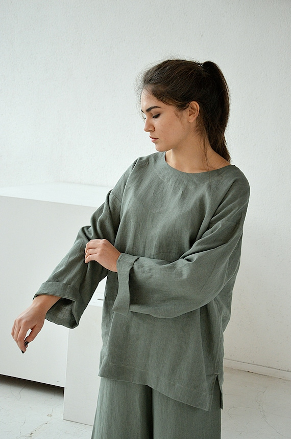 Linen loose top / Moss green oversize linen top / Oversize long sleeve blouse / Washed linen blouse / Soft linen casual top