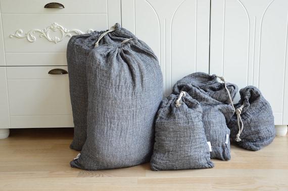 Eco storage bag - Thick linen - 100% linen bags - Double-layer linen bag - Laundry linen bag - Large storage bag - linen laundry drawstring