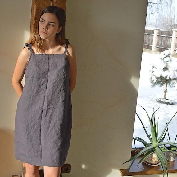Summer Linen night dress - Brownish eggplant handmade sleepwear - Soft linen sleep dress - Dress with regulating straps - Linen loungewear