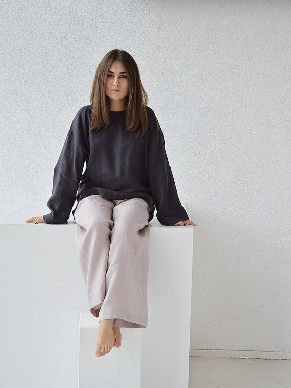 Oversize blouse Linen loose top long sleeves top Washed blouse Charcoal blue linen top Soft linen casual top