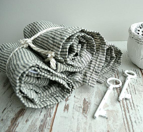 Striped Linen towel / Natural washed linen towels / Simple rustic kitchen towels / Hand face linen towels / Guest linen towels