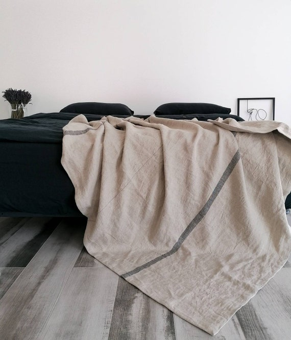 Heavy linen throw blanket 360 GSM / Thick rustic linen throw / Striped throw / Heavy weight  linen blanket /  Softened thick linen coverlet