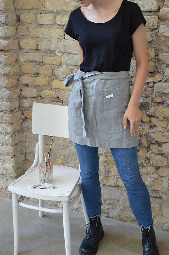 Thick linen apron - Practical coventry gray apron - Heavy weight linen apron - Stonewashed linen cafe apron