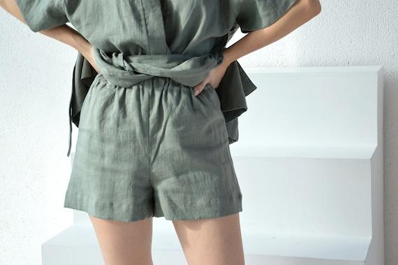 Sleeping linen shorts - Moss green shorts - Women's Soft linen shorts - Linen loungewear - Soft linen loungewear